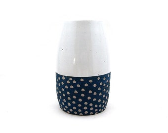 Ceramic Teal Scoop Pod Vase, Large