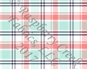 Coral Mint Navy and White Plaid 4 Way Stretch FRENCH TERRY Knit Fabric, By Gwyneth LaSpina for Club Fabrics, PREORDER