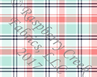 Coral Mint Navy and White Plaid 4 Way Stretch FRENCH TERRY Knit Fabric, By Gwyneth LaSpina for Club Fabrics