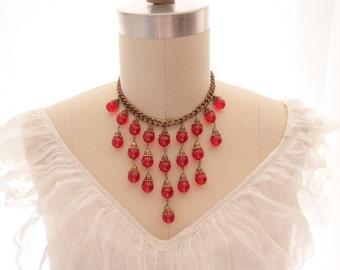 1930s Miriam Haskell Red Berry Ball Bead Brass Choker fringe bib collarette Necklace