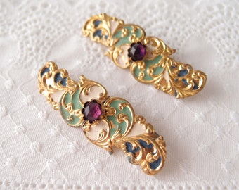 antique jeweled slides ribbon belt bracelet ornaments Edwardian enameled brass with rose cut Amethyst paste gems pair set of 2