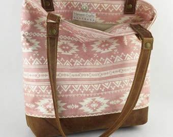 Canvas Bag/Canvas Leather Tote/Leather Straps/Southwestern style bag/Canvas/Pocket