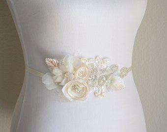 Ivory and Champagne Flower Crystal beaded Rhinestone Bridal sash, Lace Bridal sash with rhinestone Ivory ivory and champagne petals, 2017