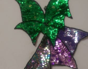 Beaded, sequined, purple, black and green applique