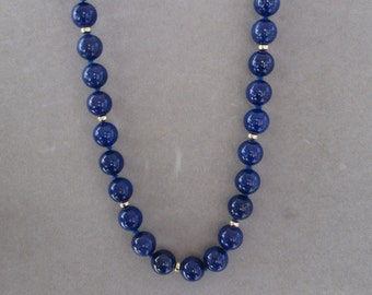Hand-Knotted Lapis and Gold Bead Necklace
