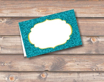 """Turquoise Glitter Place Cards Printable Food Tags or Placecards Tesl Sparkle Menu Place Card 3.5 x 2.25"""" Tent-Style - INSTANT DOWNLOAD"""