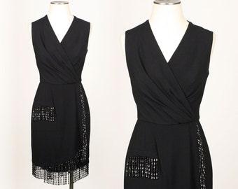 vintage victor costa dress • 1990s beaded FRINGE little black dress