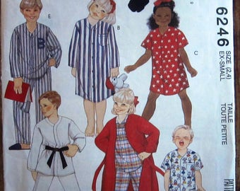 Vintage 1990s Easy to Sew Childs Robe and Nightshirt in Two Lengths and Pajamas with Pants or Shorts Size Small McCalls Pattern 6246 UNCUT