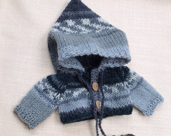 Waldorf Doll Clothes -Hand knitted Grey / White color Hoodie Sweater , fit 9 - 10 inch dolls