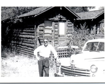 Vintage Photo - A Man, A Cabin and a Car - Vernacular, Found Photo (B)