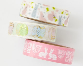 Easter Bunny Egg Set - bunny washi - bunny stickers - card making - scrapbooking - planner washi - Love My Tapes