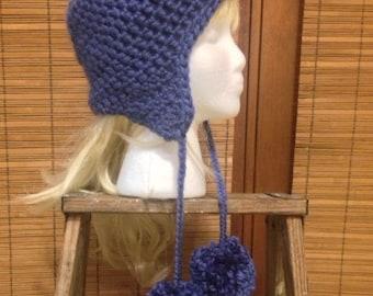 Indigo Blue Crochet Hat,  Earflap Beanie with PomPoms