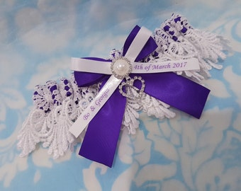 Purple Personalised heart Wedding Garter - heart and pearl purple satin and Venise Lace - monogrammed - you're next garter