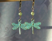 Dragonfly Earrings with Peridot, Verdigris Patina, Outlander Inspired