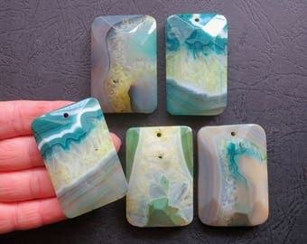 Close Out- AS PICTURED- 5pcs Large Gray Green Druzy Agate Rectangle Pendant 35x55mm- top drilled