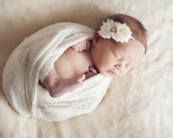 Gold ivory headband, christening headband, baptism headband, ivory baby headband, infant headband, photo prop, QUICK ship, baby head bows