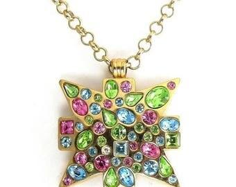Multicolor Bright Pastel Rhinestones MALTESE Cross Pendant Necklace, Long Chain