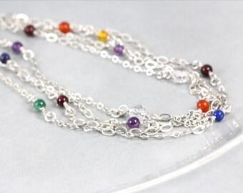 Long Wrap Chakra Necklace, Natural Gemstones, Chakra Jewelry, Chakra Gemstones, Gemstone Chakra, Yoga Jewelry, Long Chakra Necklace, Yoga