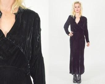 1930's BLACK VELVET LONG Dress.  Mod Art Deco Minimalist Size Small/Medium. Plunging V Neck Line. Super Soft Black Velvet Dress.