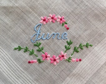 June handkerchief embroidered hankie floral wreath design pink flowers script name in blue crisp white 1950's use or display gift delicate