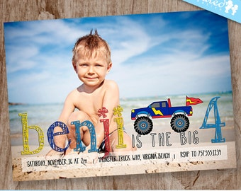 Boys Monster Truck Birthday Party Photo Invitation, Boy Truck Party Invite - DiY Printable, Print Service Available || Monster Truck Pencil