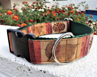 """Large Dog Collar Autumn 1.5"""" width Quick Release buckle adjustable - No martingales, limited ribbon"""