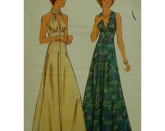 "70s Empire Waist Gown Pattern, Maxi-dress, High Neck, Open Shoulders, Deep Cleavage, Style No. 1154 UNCUT Size 10 (Bust 32.5"" 83cm)"