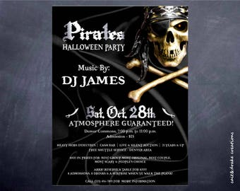 Pirate Halloween Party Costume Contest Flyer Digital Printable!