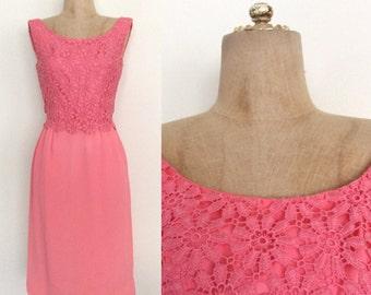1970's Pink Crochet Top Chiffon Wiggle Dress VintageCocktail Party Dress Size XS by Maeberry Vintage