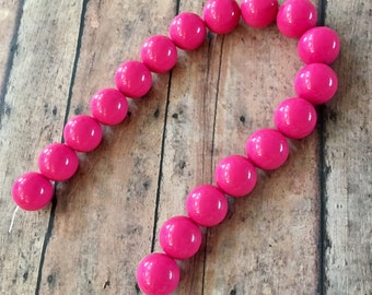 Bright Pink Gumball Acrylic Beads Strand