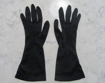 "Vintage 1950's HANSEN Black 11"" Length Nylon Evening Opera Gloves  ---Size 7--Auction #290-1116"