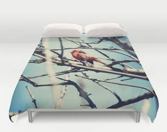 Duvet Cover, Cardinal, Duvet Covers, Queen, Hipster, Home Decor, Birds, Bedding, Bedroom Decor, Red and Blue Duvet, Red and Blue, King Duvet