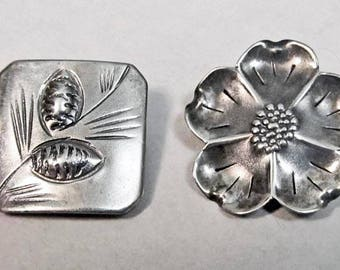 Stuart Nye sterling silver pins cherokee rose pine cone