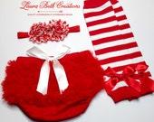 Christmas Baby Set, Red Chiffon Ruffle Bloomer, Candy Cane Leggings, Baby Set, Photo Prop Set, Christmas Photo Prop, Red and White Headband