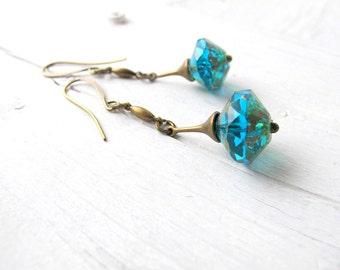 Bohemian Earrings, Dark Aqua Drop, Long Boho Dangle, Czech Glass Jewelry, Bohemian Bijoux, Teal Boho Chic Earring, Hippie Bijoux