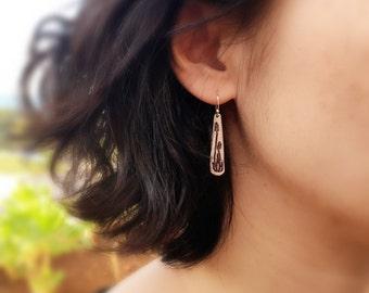 Long Silver Dangle Earrings,Floral Jewelry,Bohemian Jewelry,Rustic Jewelry,Grape Hyacinth,Silver Fern Earrings,Botanical Woodland Earrings