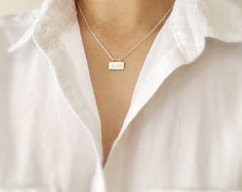 Silver Bar Necklace-Silver Rectangle Necklace-Personalized Bar Necklace-Friendship Necklace-Initial Necklace-Personalized Rectangle Necklace