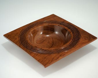 Bubinga Square Wooden Art Bowl Center Piece for your Home Decor, B2827