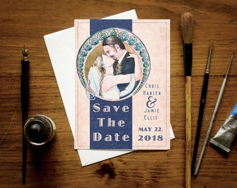 """Custom 5"""" x 7"""" save the date cards with personalized watercolor portrait - art nouveau style announcement"""