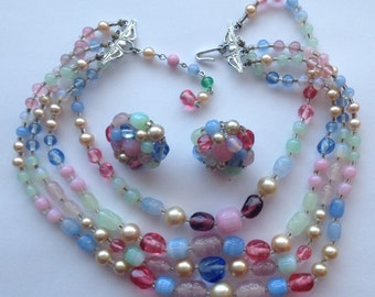 Vintage Pastel Demi Parure 4 Strand Glass Bead Faux Pearl Necklace Earrings Japan