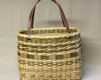 Hand Woven Sampler Tote Basket, Light Brown Accents, Brown Leather Handles