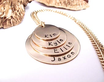 Gold Necklace, Grandma Jewelry, Personalized Jewelry, Mommy Necklace, Rustic Elegance Jewelry, Grandkids Names, 4 Gold Discs