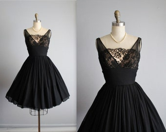 50's Chiffon Dress // Vintage 1950's Black Lace Illusion Chiffon Full Cocktail Party Dress XS