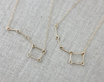 Little Dipper Big Dipper Necklace 14K Gold, Mother Daughter Necklace, Big Sister Little Sister Necklace, Constellation Star Necklace
