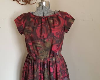 1950's Dress With Red Rose Print