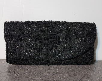 Modern Black Beaded Clutch Purse Mod Mad Men Vintage Pin Up Clutch