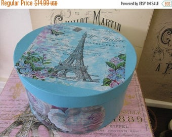 Spring Clearance SaLe Romantic Aged Nordic French Inspired Cottage Chic Hat Box French Carte Postale Blue
