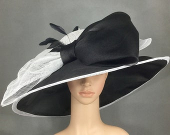 Black and White Sinamay and Silk Wide Brim Kentucky Derby Hat, Church Hat, Bridal Wedding Hat, Dress Hat, Tea Party Hat
