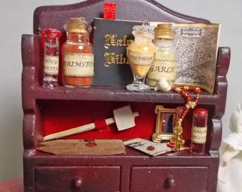 Dolls house miniature Vampire Hunter's Small Filled Wall Display Unit