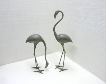 Vintage Metal Flamingos Water Fountain Decoration